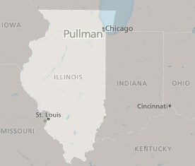 Map of Illinois Marking Location of Pullman National Monument