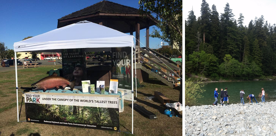 Left Image: HHOS information at community event.  Right Image: Children play next to river bank.