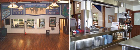 Left Image: Banner hanging over kitchen.  Right Image: Kitchen