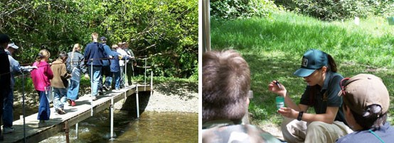 Left Image: Class crosses bridge over creek.  Right Image:  Volunteer shows how to test water sample.