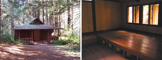 Left Image: HHOS cabin.  Right Image: Interior of cabin.