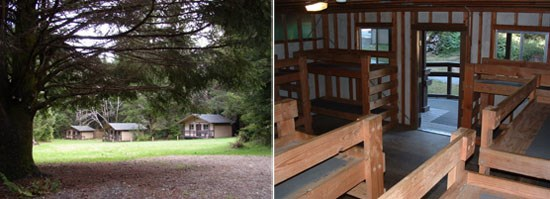 Left Image: Wolf Creek cabins in the distance.  Right Image: Cabin interior.