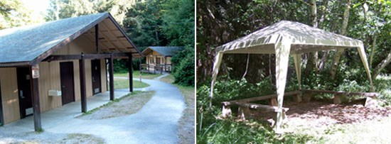 Left Image: Restrooms  Right Image: Canopy covering benches.