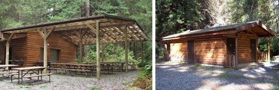 Left Image: HHOS eating area.  Right Image: Bathrooms