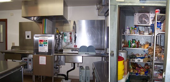 Left Image: Industrial dishwasher.  Right Image: Kitchen Pantry.