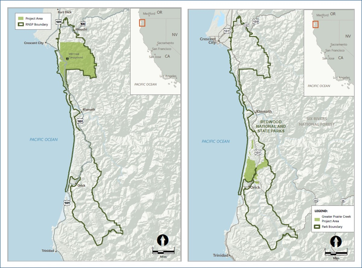Side-by-side maps of locations of Redwoods Rising restoration areas.