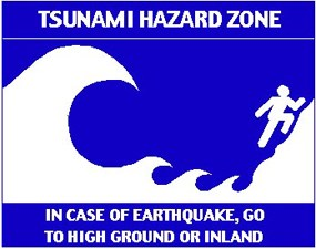 Tsunami hazard zone; In case of earthquake, go to high ground or inland.