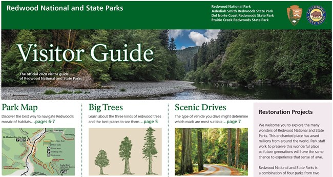 Cover page of visitor guide with a photo of a river and redwood trees.