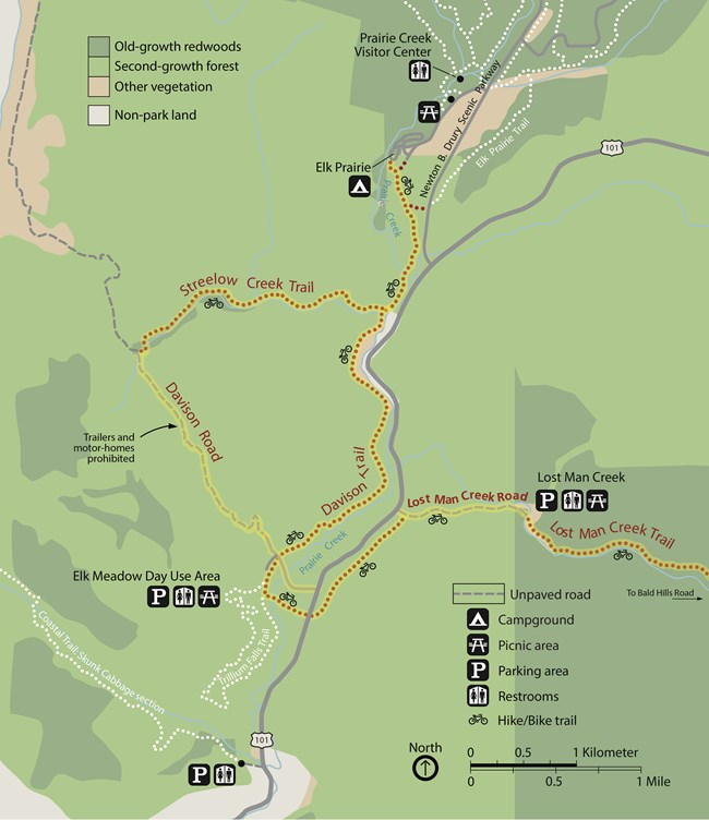 Map of bike trails around Elk Meadow Day Use Area