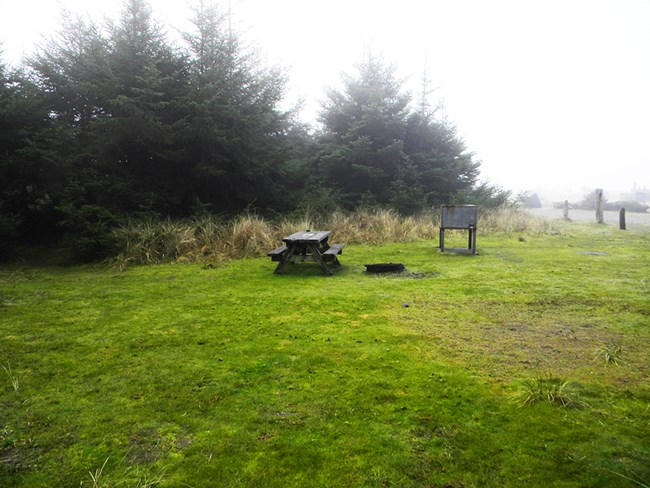 A grassy, open area with a picnic table and trees. Fog hides much of the distant view.