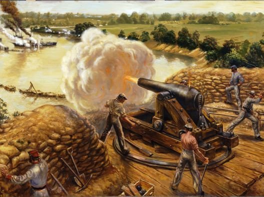 Painting of Confederate troops at Drewry's Bluff firing on Union fleet