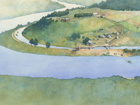 Painting of Ferry Hill landscape