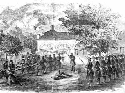 Period print of storming by Marines of