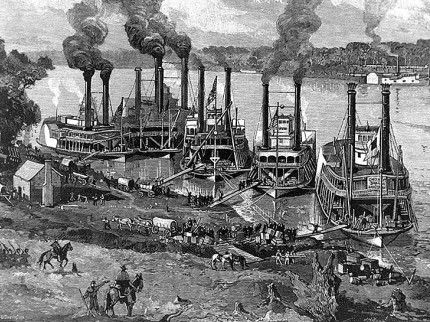 Engraving of Union steamboats at Pittsburg Landing, shortly after the Battle of Shiloh