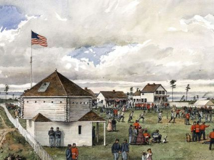 Painting of Fourth of July celebration at American Camp on San Juan Island c. 1868