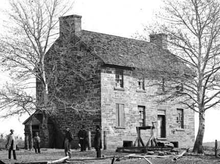 Wartime photo of the Stone House