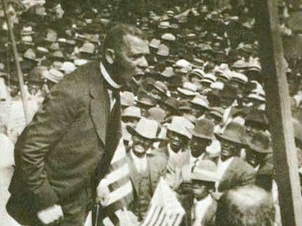 Photo of Booker T. Washington speaking in Louisiana