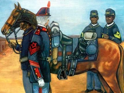 Painting showing African American soldiers in New Mexico in the 1870s