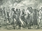 Print of African-Americans fleeing slavery in Maryland