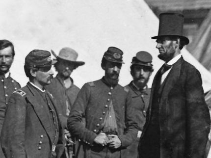 Abraham Lincoln and General George McClellan following the Battle of Antietam