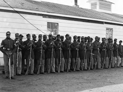 Photo of United States Colored Troops at review in Washington, D.C.