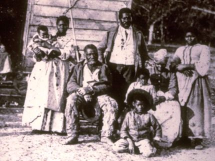 Photo of African American refugee family