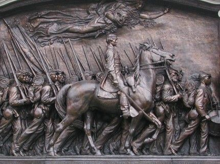 Photo of the Robert Gould Shaw Memorial, with Shaw on horseback accompanying his 54th Massachusetts Infantry