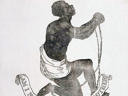 Woodcut image of an African American male slave in chains