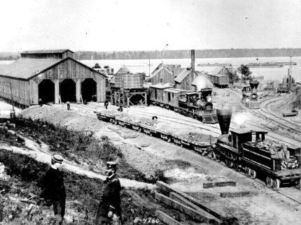 Depot at the U.S. Military Railroads, City Point, Va., showing the engine
