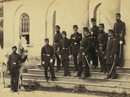 Photo of Union troops at Arlington House