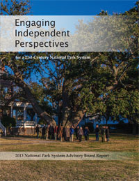 "Shows the cover of the report titled ""Engaging Independent Perspectives"", with a photo of a group of men and women gathered under a very old and large tree"