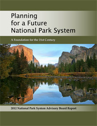 Planning Report cover shows Yosemite Valley cliffs reflected in still waters.