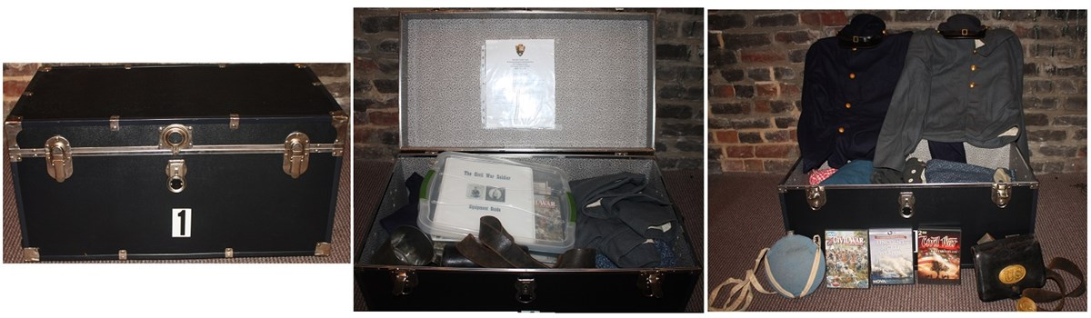 Side by side photos show a closed trunk and an open trunk filled with Civil War items, uniforms, and DVDs