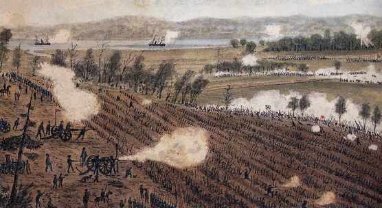 Watercolor painting of battle of Malvern Hill