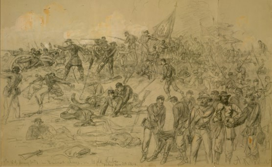 Line drawing of the battle of Cold Harbor.