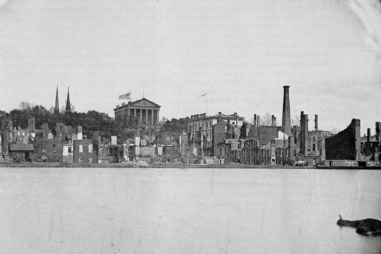 Richmond's capitol building from waterfront after the evacuation fire 1865.