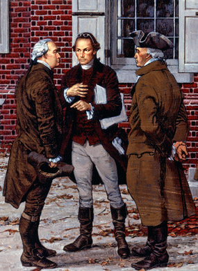Painting of Patrick Henry and two congressmen