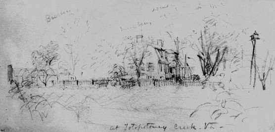 Pen and ink drawing of the Shelton House.