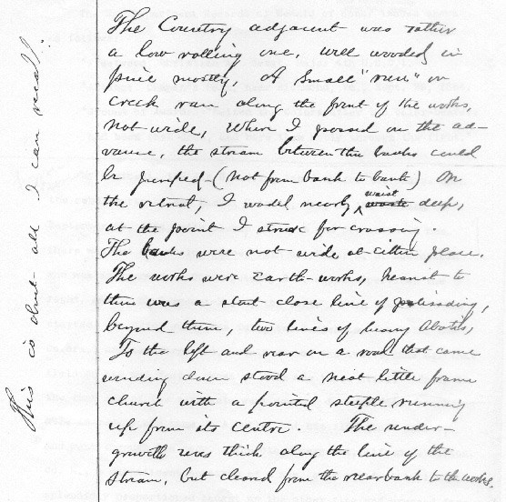 Page in Christian Fleetwood's handwriting describing the terrain of Chaffin's Farm
