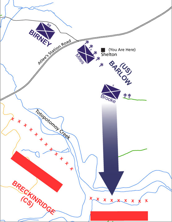 Troop positions union in blue, confederate in red