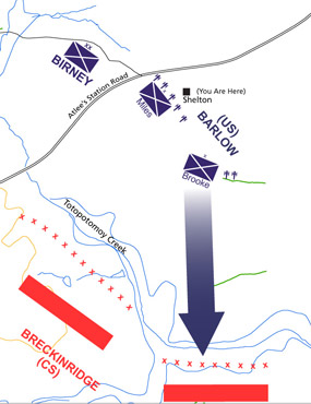 Union and Confederate troop positions at Totopotomoy Creek battle