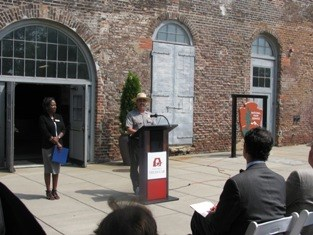 RICH Superintendent Dave Ruth and American Civil War Center President Christy Coleman announce the opening of the new visitor orientation center at Historic Tredegar.  (NPS photo)
