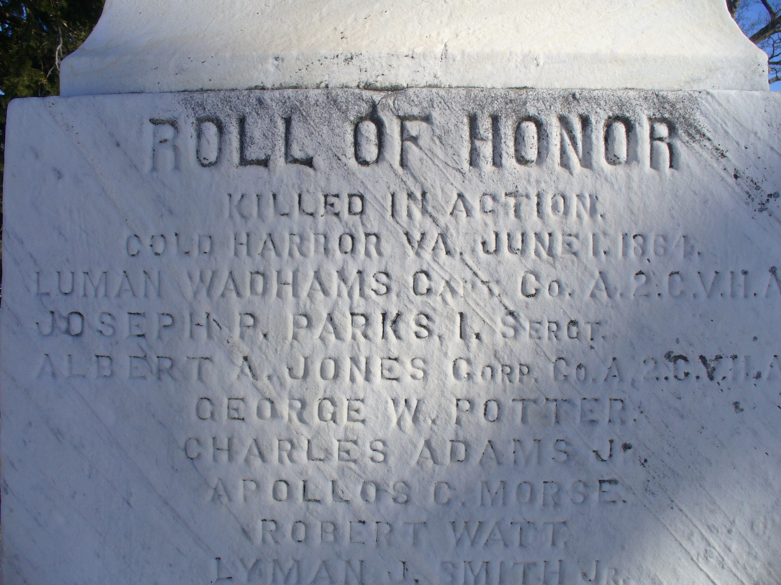 "white stone monument inscribed with the words ""Roll of Honor"" and the names of soldiers killed in action at Cold Harbor"