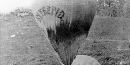Civil War era photograph of Thadeus Lowe's balloon Intrepid being inflated on the battlefield.
