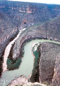 View of Tule Canyon and the Rio Grande from Burro Bluff