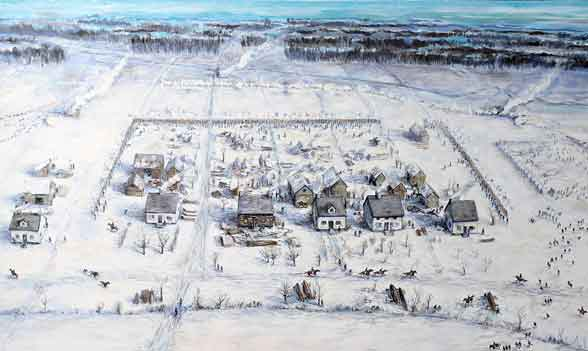 The River Raisin settlement during the January 22, 1813 Battle