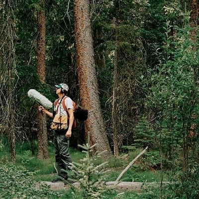 Jacob Job recording sounds in the forest of the Wild Basin area in Rocky Mountain National Park.