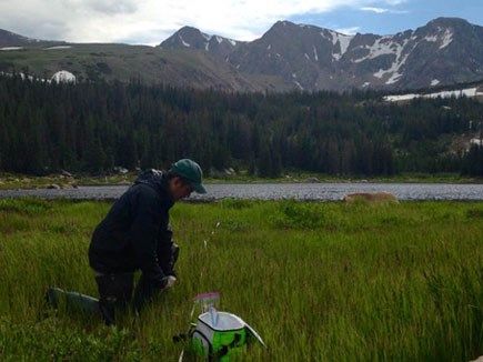 Collecting soil samples at Lost Lake
