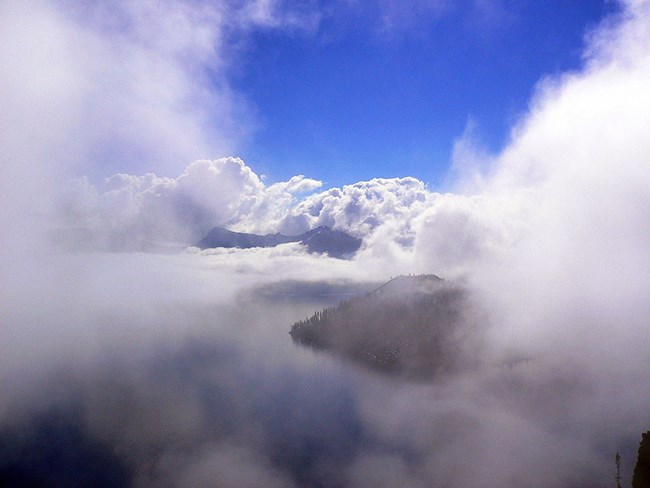 Crater Lake shrouded in clouds