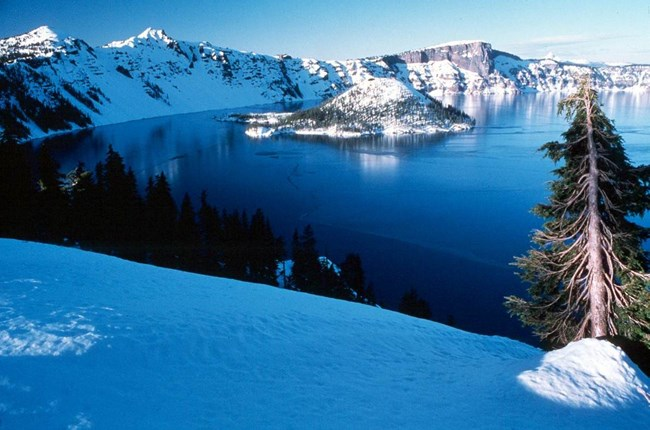 Crater Lake with Wizard Island in winter